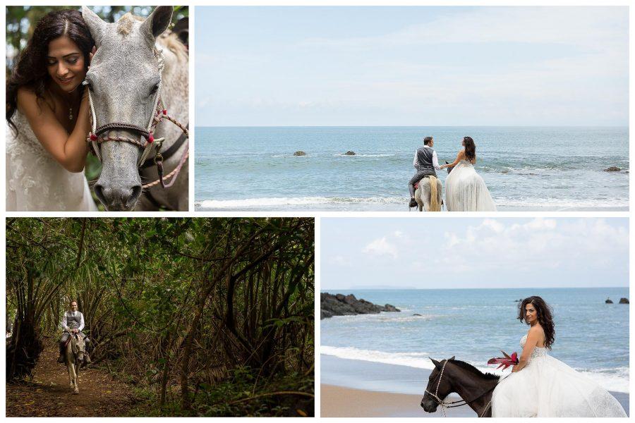 Bride and groom on horses for Day After Session