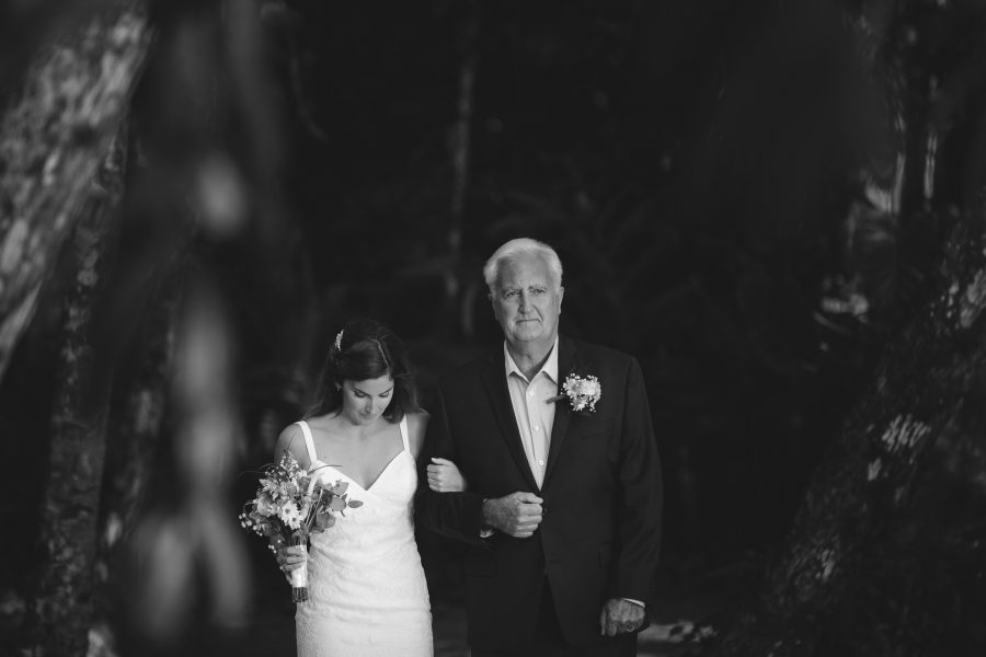 Bride before walking down the aisle with father