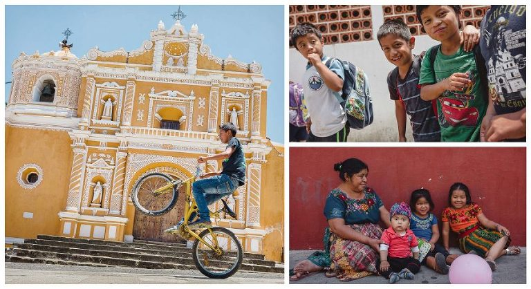 cathedral in guatemala and locals