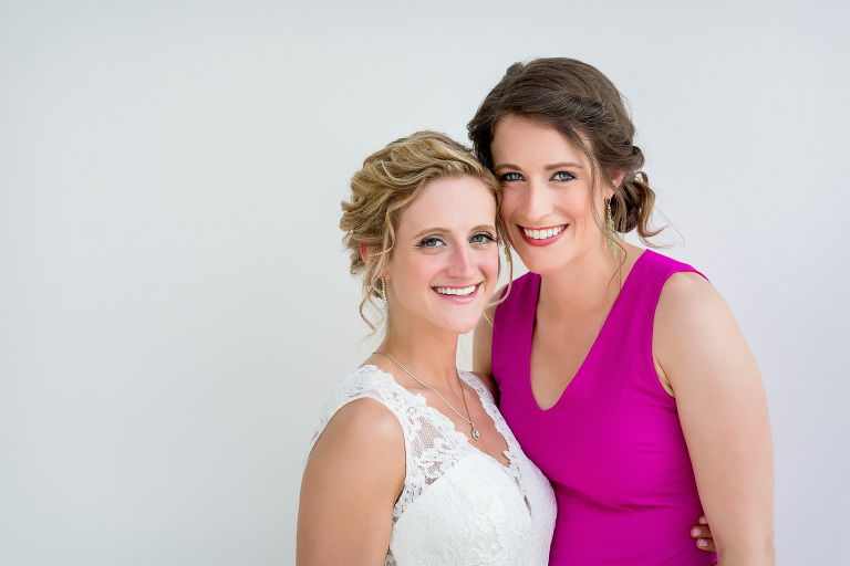 bride and maid of honor pre-ceremony