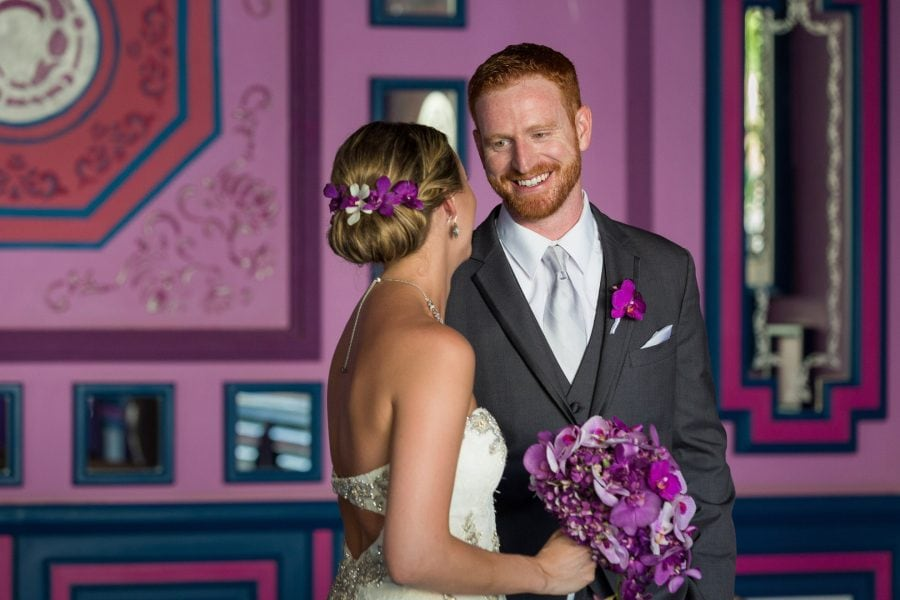 bride and groom first look at Riu Palace