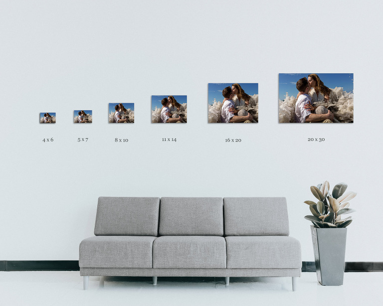 photo print sizes displayed on wall