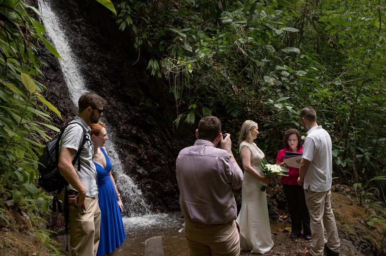 Waterfall ceremony in the Costa Rican rainforest