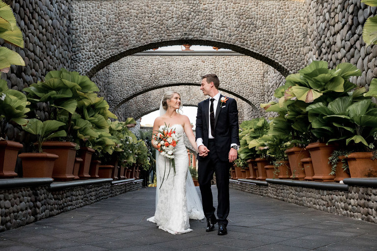 The happy couple in beautiful Villa Caletas for their luxury wedding